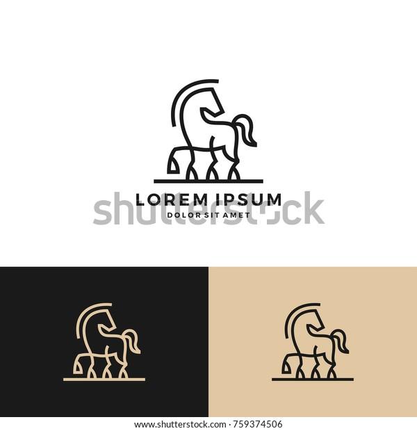 Horse Logo Vector Icon Line Art Stock Vector (Royalty Free) 759374506