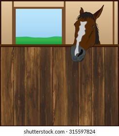 Horse looking over the front of his barn stall