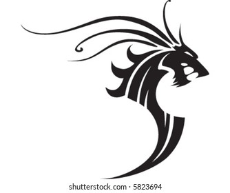 Horse lookng tattoo with long mane
