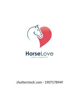 Horse Love Logo Design Template Flat Style Vector