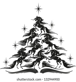 Horse lovers christmas tree A Christmas Tree made of rearing horses.
