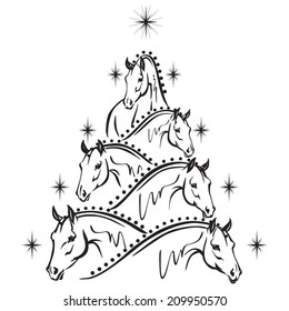 Horse lovers christmas tree: sport horses