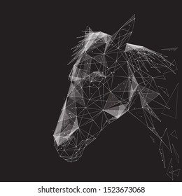 Horse low poly wireframe illustration. Polygonal hoofed animal, equine mammal, riding pet, stallion side view mesh art. 3D horse head, herbivorous beast face profile with connected dots