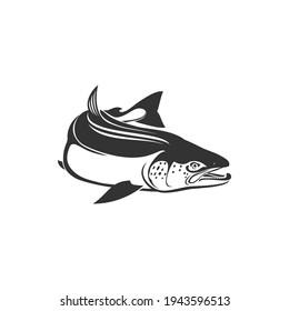 Horse mackerel with flounders, mackerel fishing sport isolated bluefish. Vector Scombridae saltwater fish, bluefin tuna monochrome icon. Aquatic animal, atlantic tuna bluefish, sardine or scombridae