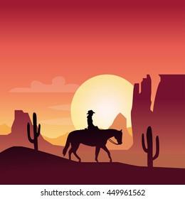 Horse man silhouette in desert landscape background