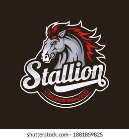 Horse mascot logo design vector illustration
