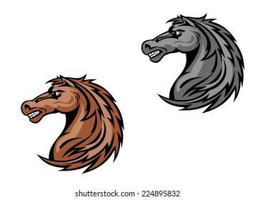 Horse mascots in cartoon style. Vector illustration