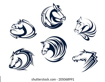 Horse mascots and emblems with stallions, mares and mustangs for equestrian sports, logo or tattoo design
