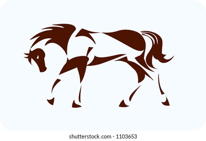 Horse in movement, made up of shapes
