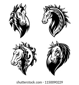 Horse or mustang animal isolated icons for tribal tattoo and equestrian sport mascot design. Black and white stallion or mare horse head with angry muzzle and curly mane symbols