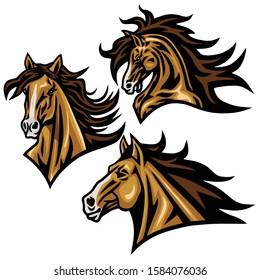 Horse Mustang Head Logo Vector Mascot Sports Design Illustration Set Premium Collection