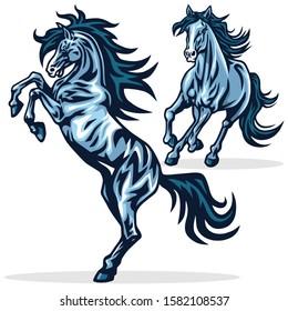 Horse Mustang Running Rearing Vector Mascot Logo Design Illustration Set Premium Collection