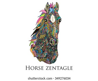 horse muzzle zentangle high detailed ornament vector art. Mare head bright colored illustration. Web design page icon element. Stylish image for phone case design.