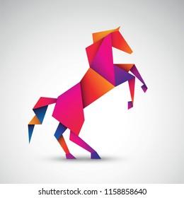 horse origami vector