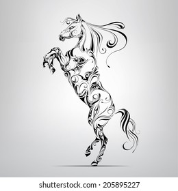 Horse in an ornament. Vector illustration