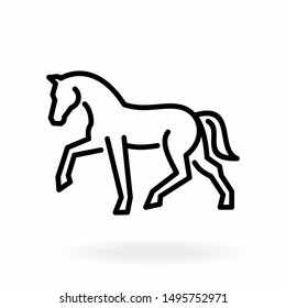 Horse outline icon. Equine line art on white background.