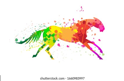 Horse pattern design. Horse with color paint splashes, dots and decorate art effects.