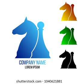 Horse Pawn Silhouette Chess Game Icon Logo