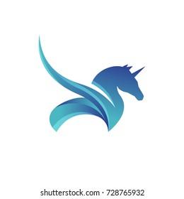 horse pegasus logo vector