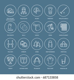 Horse polo flat line icons. Vector illustration of sport game, equestrian equipment - saddle, leather boots, harness, spurs. Linear signs set, championship pictograms for event, gear store.