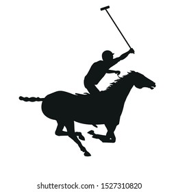 Horse polo player. Black silhouette of a galloping rider. Vector illustration isolated on white background