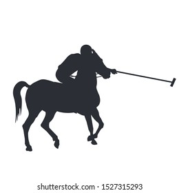 Horse polo player. Black silhouette of a rider holding a stick. Vector illustration isolated on white background