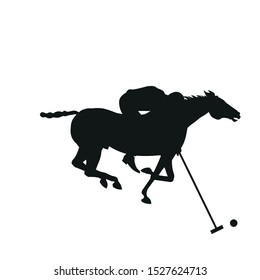 Horse polo player hits the ball. Black silhouette of a galloping rider. Vector illustration isolated on white background
