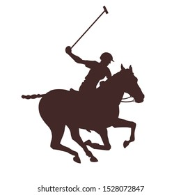 Horse polo player. Vector illustration isolated on white background