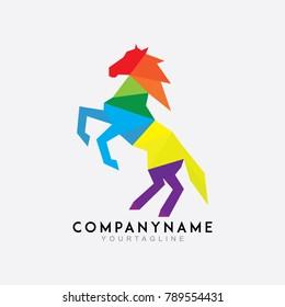 Horse polygon colorful logo vector