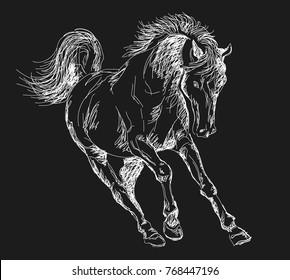 horse \ pony \ running horse \ chalked horse