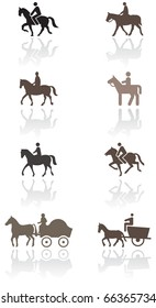 Horse or pony symbol vector illustration set. All vector objects are isolated and grouped. Colors and transparent background color are easy to adjust.