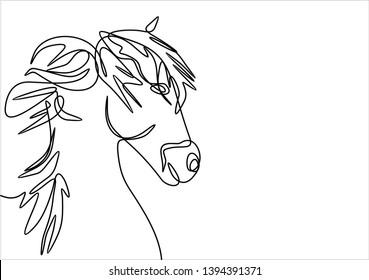 Horse portrait continuous line drawing