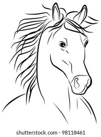horse portrait - freehand on a white background, vector illustration
