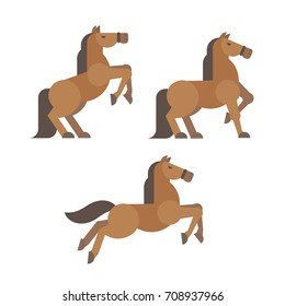 Horse poses flat illustration. Brown horse rearing, standing, running poses
