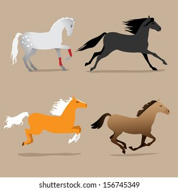 horse poses set