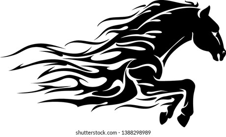 Horse Power Bust Abstract Flame