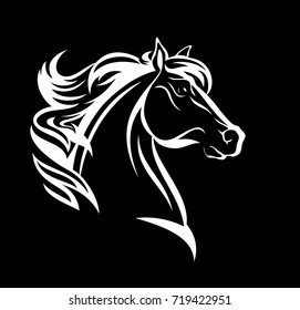 horse profile design - white head against black background vector illustration