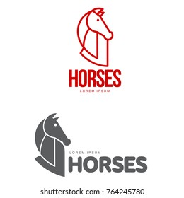 Horse profile graphic logo template, vector illustration on white background. Stylish horse head and body outline for stable, farm, race logo design