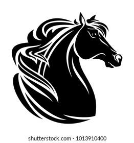 Horse Head Long Beautiful Mane Black Stock Vector Royalty Free