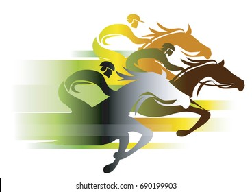 Horse Race In autumn colors. Three racing jockeys at Full Speed. Colorful illustration on white background.Vector available