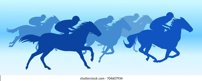 Horse race in Blue background