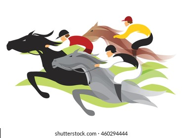 Horse race. Colorful stylized illustration of  horse race. Vector available.