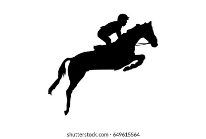 Horse race. Equestrian sport. Silhouette of racing horse with jockey. Jumping. Second step.