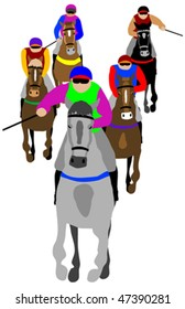 Horse race isolated on white