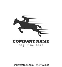 Horse race logo vector with speed effect