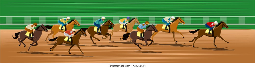 Horse race in a racecourse