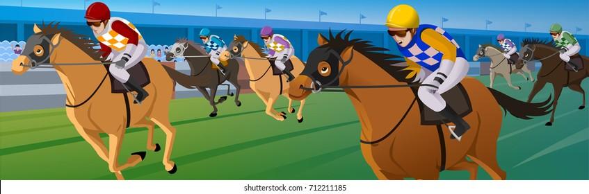 Horse race in a racecourse