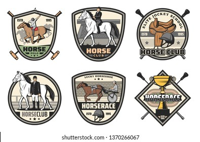 Horse race, riding club vector badges of equestrian sport design. Racehorse, jockey and winner trophy cup, rider helmet, saddle and hippodrome retro icons with crossed whips and mallets