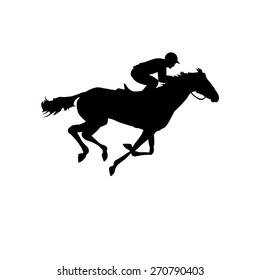 Horse race. Silhouette of racing horse with jockey on isolated background. Racing horse and jockey silhouette. Horse and rider. Derby. Equestrian sport. Eps 8
