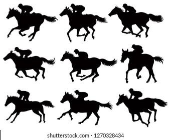 Horse Race Silhouettes Set